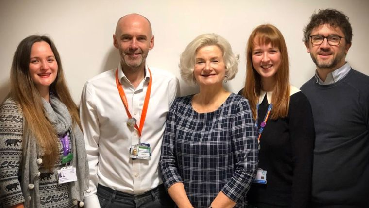 The photo is of the SCAN team. Left to right: Zoe Kaveney (Cancer Programme Manager at OCCG), Prof Fergus Gleeson (Professor of Radiology and Department of Oncology), Dr Shelley Hayles (OCCG Clinical Director of Planned and Cancer Care), Julie-Ann Moreland (Macmillan Project Manager/SCAN Navigator) and  Dr Brian Nicholson (Macmillan Lead GP and Clinical Researcher for University of Oxford).