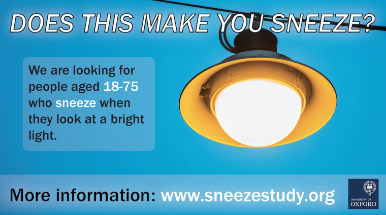 Picture of an overhead light and text that says, Does this make you sneeze?