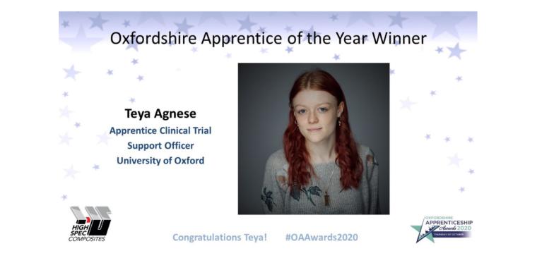 Oxfordshire Apprentice of the Year Winner Teya Agnese