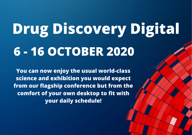This image is advertising Drug Discovery Digital, a virtual event running from 6th October to the 16th October 2020