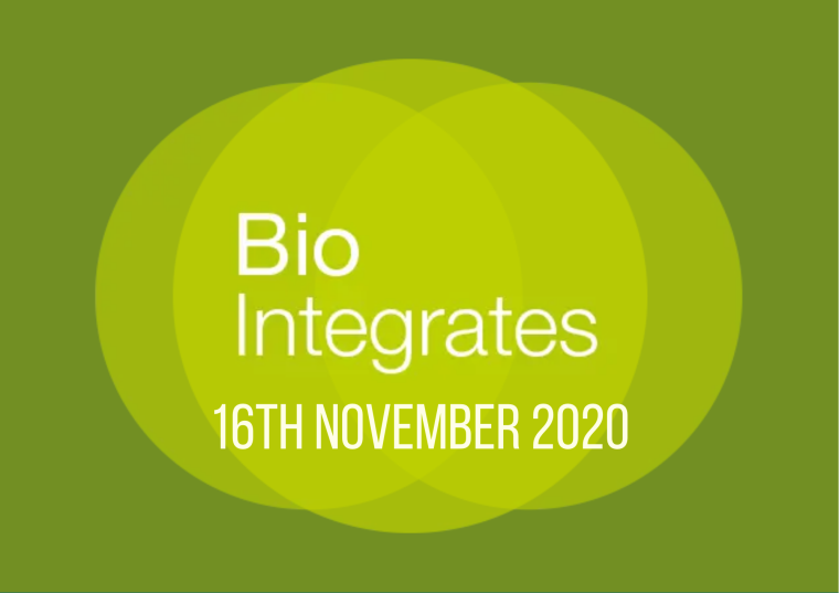 This image is advertising a virtual event, Bio Integrates, being held on 16th November 2020.