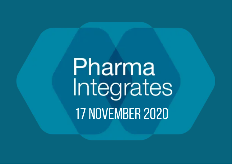This image is advertising a virtual event, Pharma Integrates, being held on the 17th November 2020