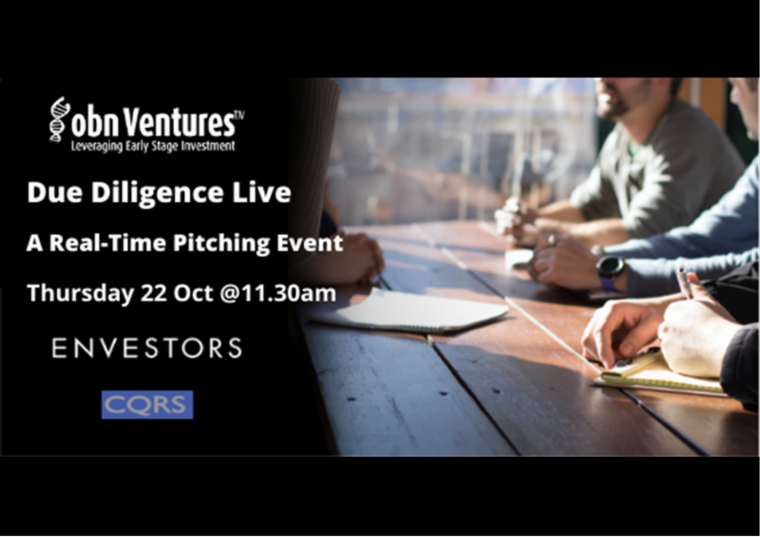 This image is advertising Due Diligence Live: A Real-Time Pitching Event