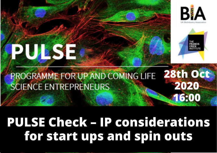 This image is advertising PULSE Check – IP considerations for start-ups and spin-outs