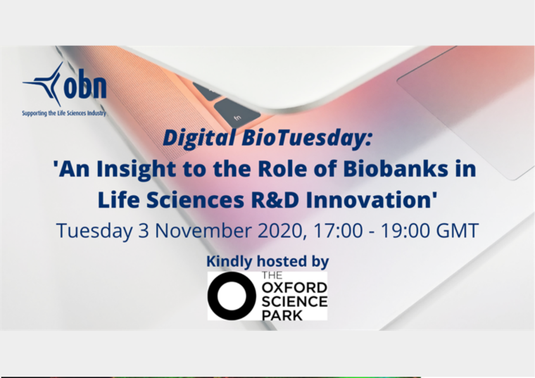 This image is advertising OBN Digital BioTuesday: 'An Insight to the Role of Biobanks in Life Sciences R&D Innovation'