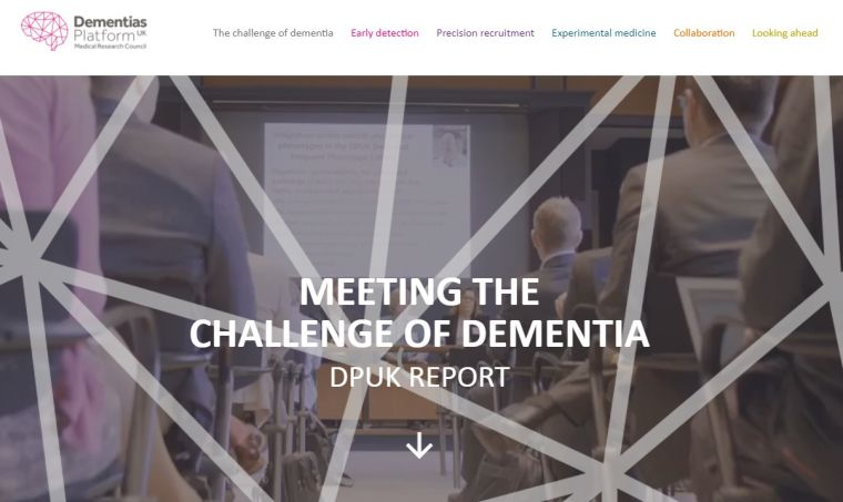 Screenshot of the DPUK 2020 report: People attending a lecture overlaid with text that reads 'Meeting the challenge of Dementia, DPUK Report'.