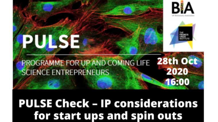 Flyer for the BIA's pulse check event on the 28th October 2020 - IP considerations for start ups and spin outs