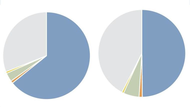 Two pie charts (illustrative only)