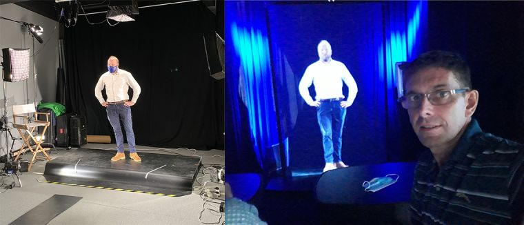 Ed Gibbs filmed in AHRT London studio, and beamed as a holograpm to Bangkok, as seen by David Burton