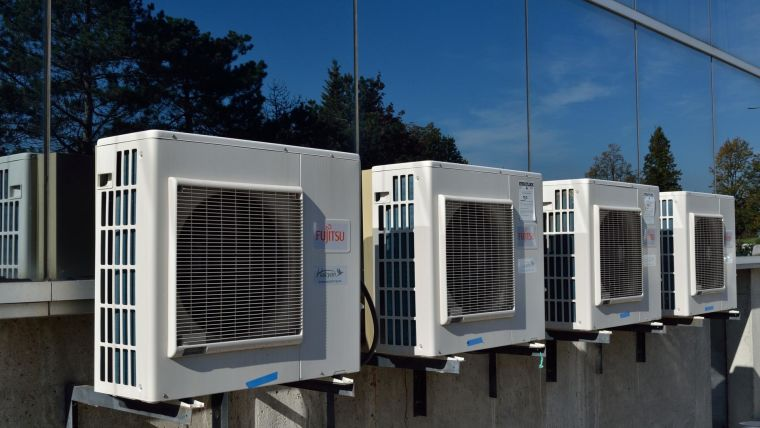 A row of air conditioning units