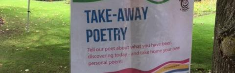 The sign for Take-away Poetry at the Botanic Garden