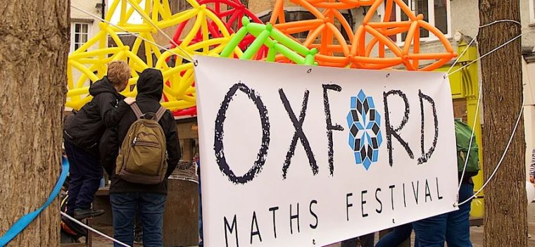 A balloon structure at the Oxford Maths Festival