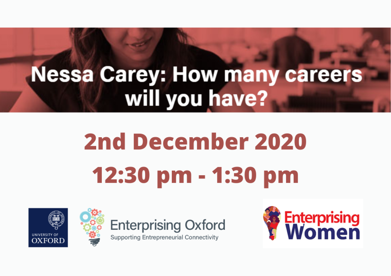 This image is advertising the Enterprising Women Lunch and Learn session titled 'Nessa Carey: How many careers will you have?' being held on 2nd December 2020.