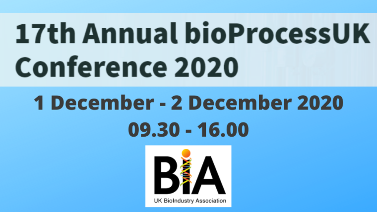 This image is advertising bioProcessUK 2020, being held as a virtual event from 1st December 2020 to the 2nd December 2020