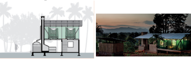 Diagram and photo of mosquito-proof houses