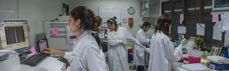 Researchers in a lab