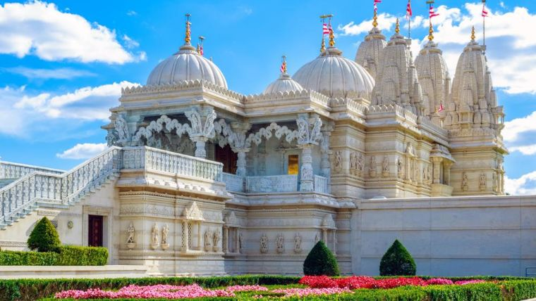 Exterior of the Hindu temple, BAPS Shri Swaminarayan Mandir, in Neasden, London