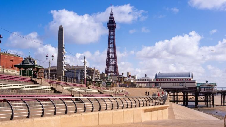 Blackpool Tower and a deserted promenade due to covid 19 restrictions.