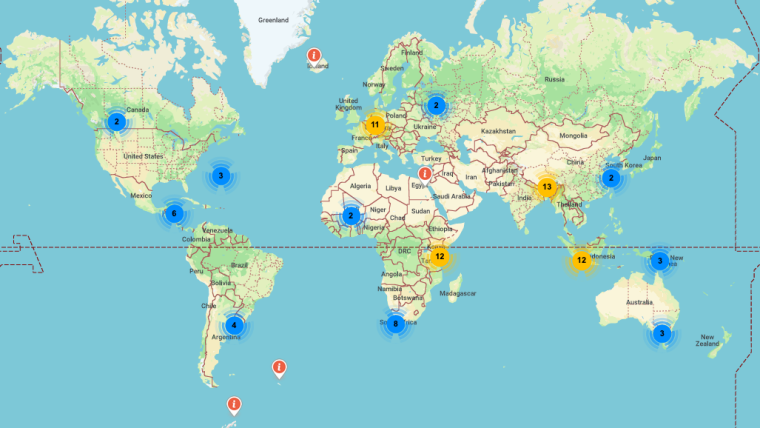 Map of the world with pins representing research activities led by Oxford University scientists across the globe