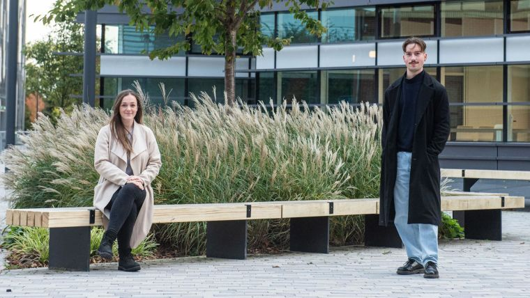 Bvlgari Scholars Rebecca Makinson and Cameron Bissett outside the Big Data Institute Building