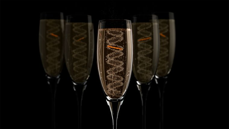 Champagne glasses with bubbles in the shape of DNA double helix