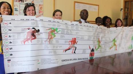 Researchers holding a poster
