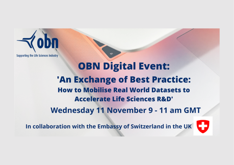 This image is advertising the OBN Digital event titled, 'An Exchange of Best Practice: How to Mobilise Real-World Datasets to Accelerate Life Sciences R&D'.
