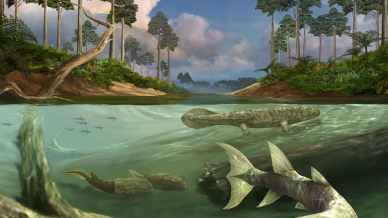 Artist's impression of a scene in the Devonian period