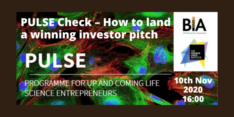 This image is advertising the virtual event titled, PULSE Check – How to land a winning investor pitch