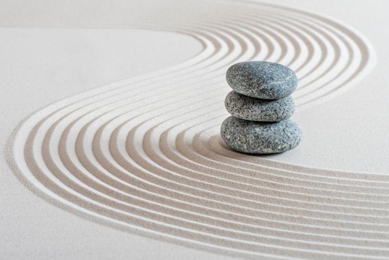 Japanese ZEN garden with stone in sand