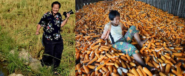 Suphak Nosten and a young Thai girl kicking down corn in a big pile, at the Myanmar-Thai border