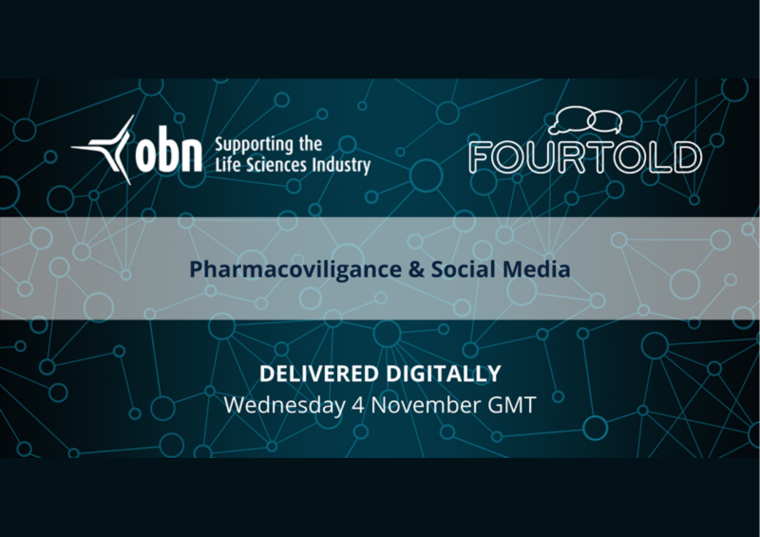 This image is advertising an OBN BioLearn session titled 'Pharmacovigilance for Social Media'.