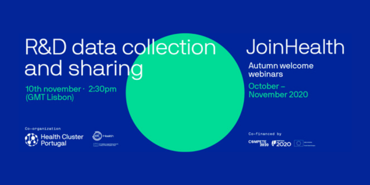This image is advertising the JoinHealth Autumn welcome webinars titled R&D data collection and sharing.