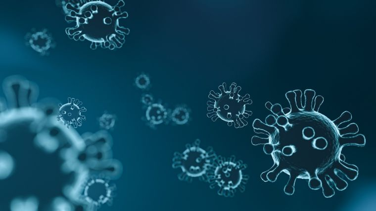 Coloured coronaviruses on dark background - graphically designed.