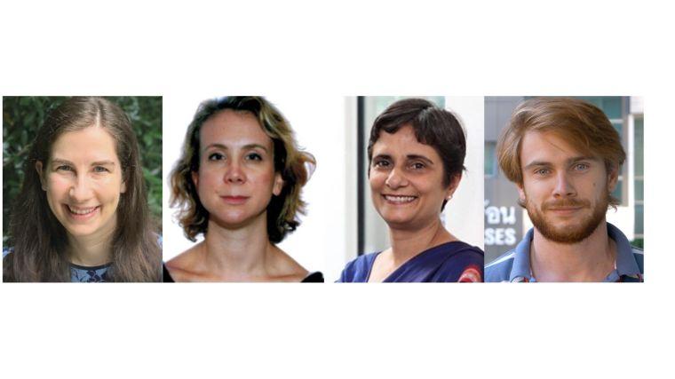 Headshots of webinar speakers Rebecca Kahn, Rebecca Grais, Cherry Kang and James Watson