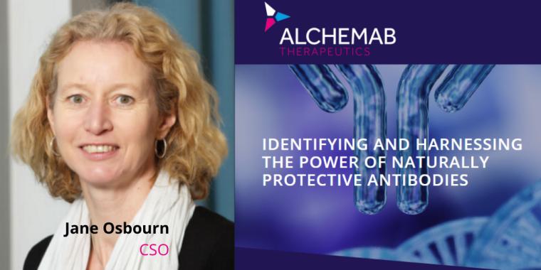 Image of the UK BIA Antibody Taskforce leader, Jane Osbourn, Alchemab CSO with Alchemab logo