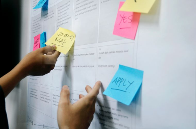Hands sticking post it notes to a whiteboard