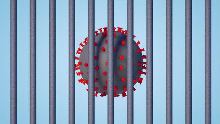 3d rendering of coronavirus in prison