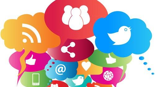 Icons for online social engagement grouped together
