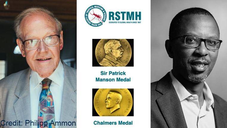 David Warrell receives the Mason medal, and Samson Kinyanjui receives Chalmers medal