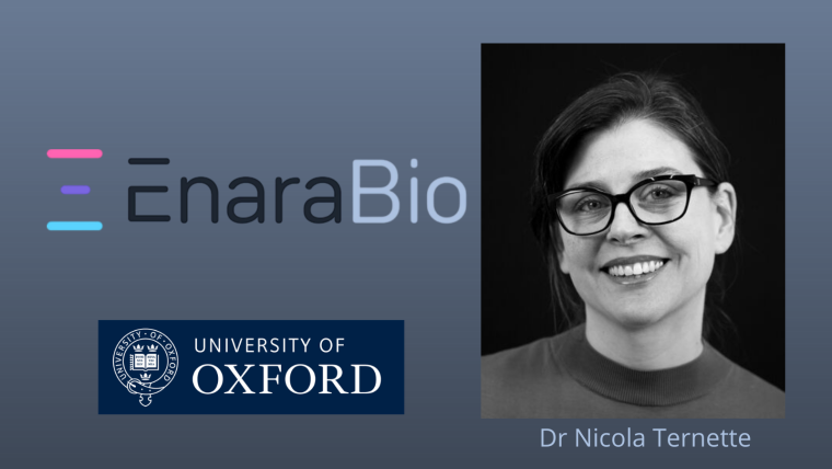 Logos of Enara Bio and University of Oxford with profile picture of Dr Nicola Ternette