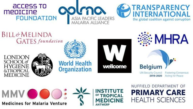 Logos of the MQPH Conference partners, including Access to Medicine Foundation; APLMA Asia Pacific Leaders Malaria Alliance; Transparency International; Bill & Melinda Gates Foundation; London School of Hygiene & Tropical Medicine; World Health Organization; Wellcome; MHRA Medicine and Healthcare Products Regulatory Agency; Belgium UN Security Council; MMV Medicines for Malaria Venture; Institute of Tropical Medicine Antwerp; Nuffield Department of Primary Care Health Sciences