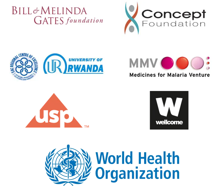 Logos of the MQPH Conference sponsors: Bill & Melinda Gates Foundation; Concept Foundation; University of Rwanda; MMV Medicine for Malaria Venture; USP United States Pharmacopeia; Wellcome; World Health Organisation