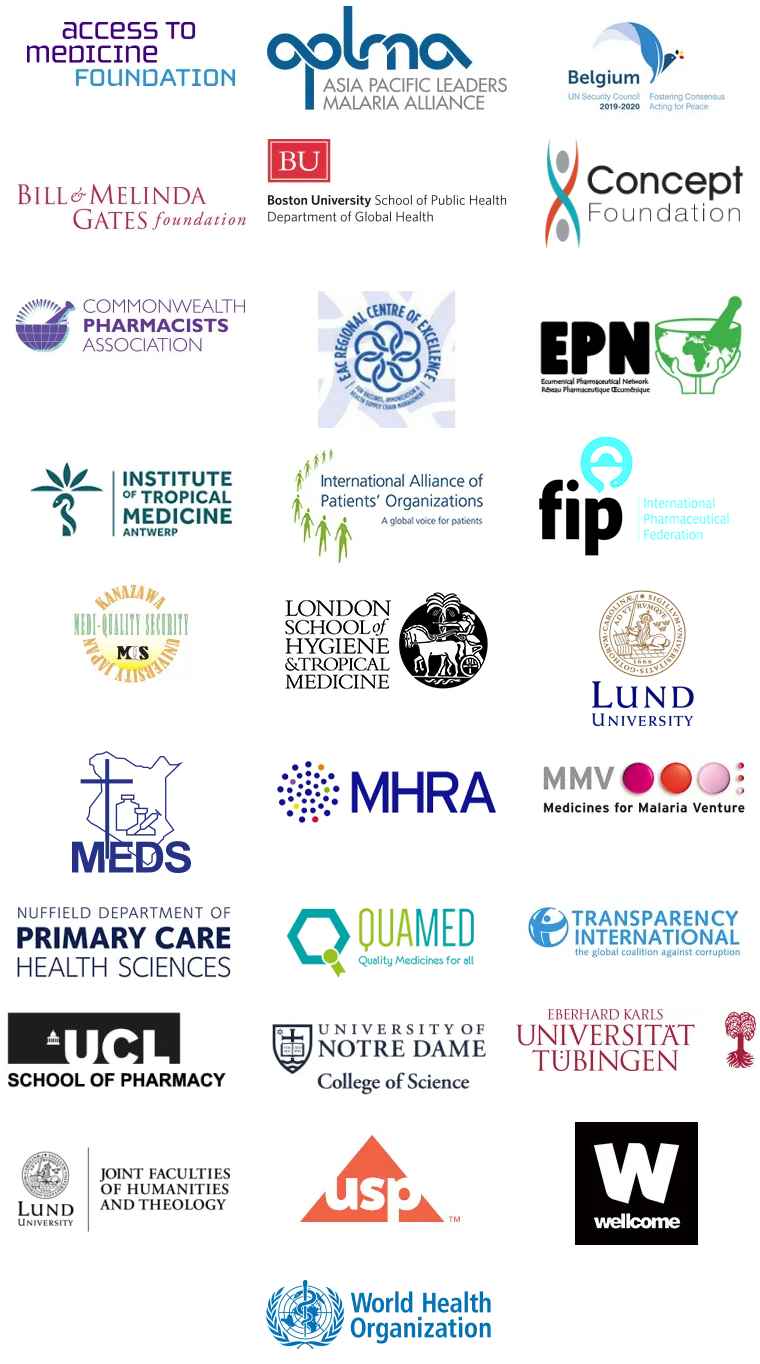 Logos of the numerous Partners of the MQPH Conference: Access to Medicine Foundation; APLMA Asia Pacific Leaders Malaria Alliance; Belgium UN Security Council; Bill & Melinda Gates Foundation; Boston University School of Public Health; Concept Foundation; Commonwealth Pharmacists Association; EAC Regional Centre of Excellence; EPN Ecunemical Pharmaceutical Network; Institute of Tropical Medicine Antwerp; International Alliance of Patients' Organizations; FIP International Pharmaceutical Federation; Kanazawa University Medi-Quality Security; London School of Hygiene and Tropical Medicine; Lund University; MEDS Mission for Essential Drugs and Supplies; MMV Medicine for Malaria Venture; Nuffield Department of Primary Care Health Sciences; QUAMED Quality Medicines for all; Transparency International; University College Londond School of Pharmacy; University of Notre Dame College of Science; Universitat Tubingen; Lund University joint Faculties of Humanities and Theology; USP US Pharmacopeia; Wellcome; WHO