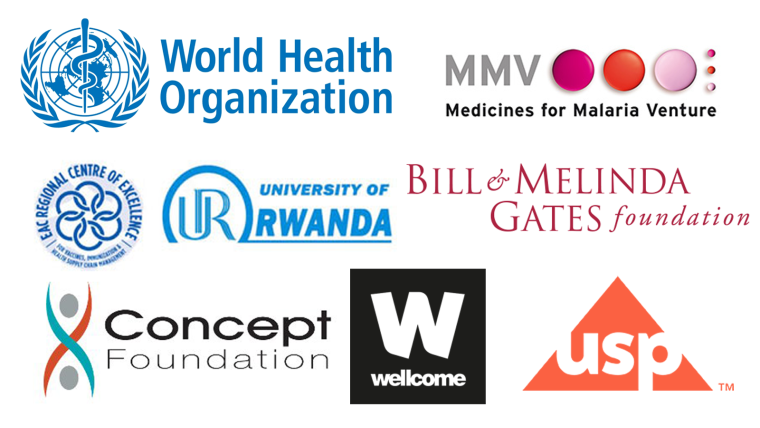Logos of the MQPH Conference sponsors, including WHO; MMV Medicine for Malaria Venture; University of Rwanda; Bill & Melinda Gates Foundation; Concept Foundation; Wellcome; USP US Pharmacopeia
