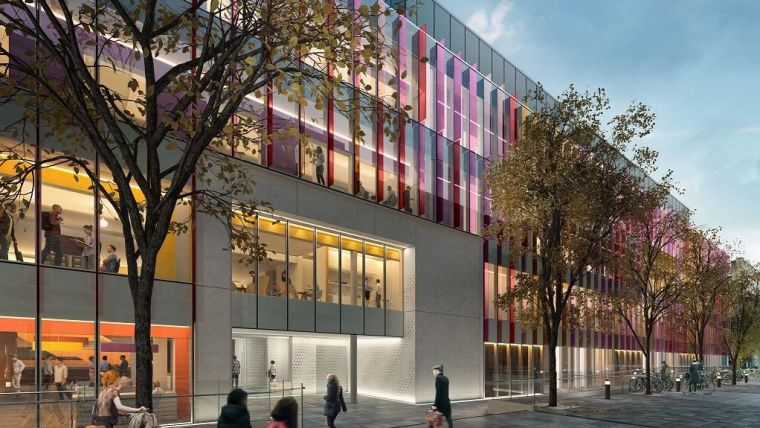 Artist impression of the Institute - a very modern tree-lined building
