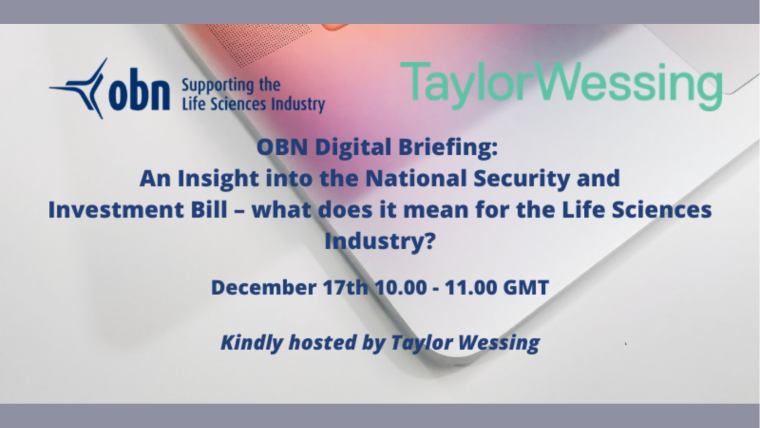 This image is advertising the OBN Digital Briefing: An Insight into the National Security and Investment Bill