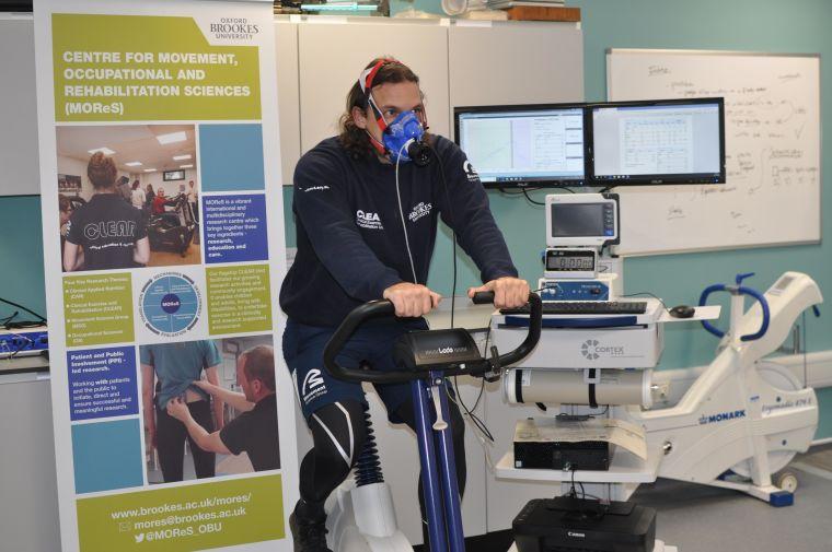 Ben Weedon on an exercise bike