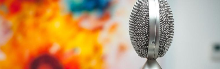 Silver microphone in front of colourful painting