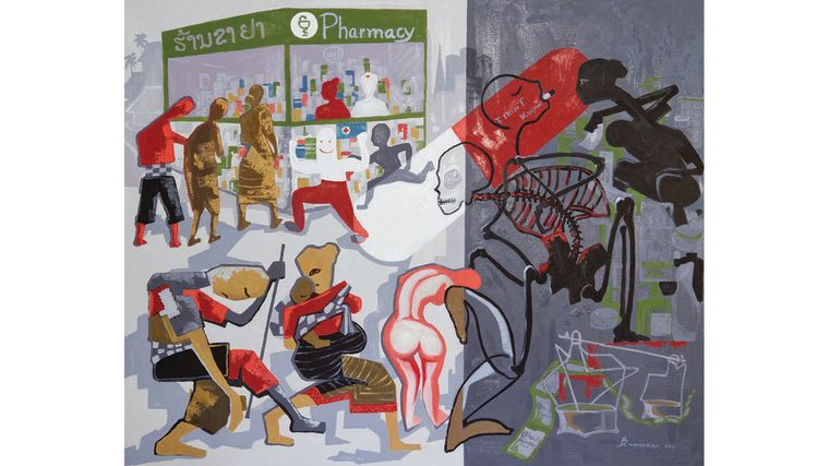 A drawing: Artists explore the problems of poor quality and fake medicines